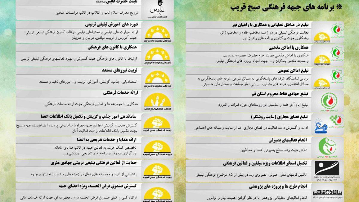 برنامه های جبهه فرهنگی صبح قریب